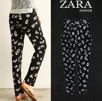 Large size 2014 women harem pants fat MM Korean version thin pencil pants autumn 2014 skull print pants feet trousers
