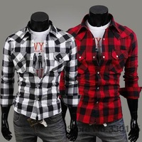 Cotton plaid shirt men cultivating long-sleeved shirt men's casual fashion plaid casual dress polo