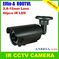 Bullet CCTV Camera 800TVL Sony Effio-A cxd4151gg+673 OSD Menu 2.8-12mm Varifocal Zoom Lens Outdoor Using