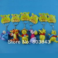 High Quality PVC Winnie Pig Tigger Donkey Action Figure Keychain Baby Educational Toy Bag Pendant