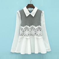 2014 spring women's sweet crochet lace patchwork turn-down collar long-sleeve shirt cute female al731