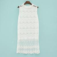 2014 spring new arrival sweet princess lace crochet gauze one-piece dress tank dress shirt ai604