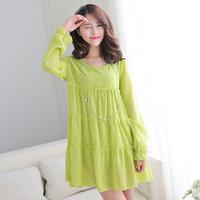 2014 spring sweet chiffon patchwork o-neck long-sleeve fresh layered dress one-piece dress female ai642