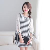2014 spring brief stripe o-neck patchwork cutout lace three quarter sleeve t-shirt female ai637