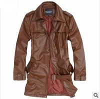 Spring 2014 new men's casual fashion PU leather coat jacket Slim Long leather overcoat Windbreaker Trench Coat men clothing