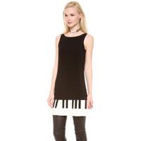 Women's Elegant dress pleated cute piano keys sweep lining Full sizes XS-XXL