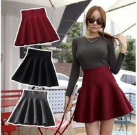 Free shipping 2014 New Fashion Women's Skater Girl's Candy Elastic High Waist Skater Mini Skirt  High quality