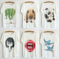 new style thin plus size loose batwing sleeve women's short sleeve cartoon animal t-shirt tops tees womens t shirt 110 models