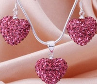 Free Shipping New Arrival Fashion Rose Crystal Heart Pedant Shamballa Necklace  earring set lot  Rhinestones Ball Bead JEWELLRY