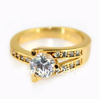 2014 Sample Sale Fashion Jewelry 18K Gold Filled Engagement  Ring With Big Round Zircon For Women HR099