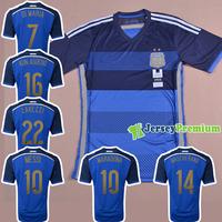 ARGENTINA AWAY BLUE BLACK 2014 WORLD CUP Soccer jersey football Jerseys kits Uniform messi mascherano maradona lavezzi kun Shirt