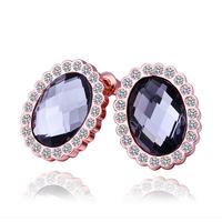 Fashion Grey Crystal Jewelry Stud Earrings 18KGP Rose Gold Plated Rhinestone Stainless Steel Dangling Earring