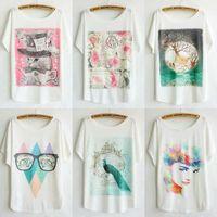 2014 New Fashion Women's Round Collar Short Sleeve Loose T-shirts Women's Printed T Shirt Free Shipping