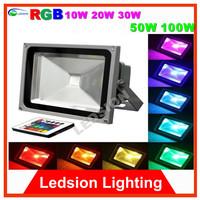 4pcs/lot  AC 85-265V 10W 20W 30W 50W LED Floodlight Garden Outdoor light Waterproof Cool White warmwhite RGB free shipping