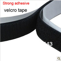 Free shipping 2.5cm strong adhesive  velcro tape hook and loop velcro fastener with double side strong adhesive 10m/lot