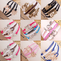 2014 wholesale 20 Design/colors suede leather bracelet love/infinity/anchor/one direction/tree bracelet free shipping B1B2