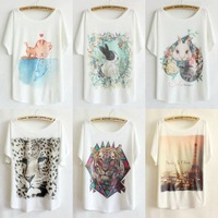 2014 new fashion hot cozy t shirt women clothing sexy tops tee clothes blouses t-shirt short sleeve Loose Buttons Batwing sleeve