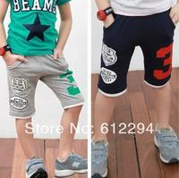 new 2014 summer children pants/ Capris pants boys blue and gray 2 colors 5 pcs/lot boys pants wholesale