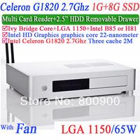 celeron dual core G1820 2.7Ghz CPU LGA1150 desktop computers with Ivy Bridge Multi card 1G RAM 8G SSD Windows or Linux installed