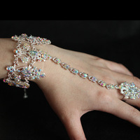 New 2014 Free Shipping Luxurious AB Color Czech Rhinestone Bridal Bracelets & Bangles with Ring Wedding Jewelry Accessoies