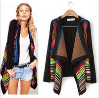 Europe women elegant vintage Striped irregular Knitted Cardigans 2014 new stylish Casual Slim sweater coat LS168