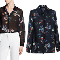 Free Shipping 2014 New Women Spring Autumn Classic Long Sleeve Turn-down Collar Shirts, Flower Floral Print Chiffon Blouses 6673