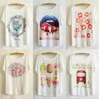 1pc/lot, New big size t shirt Women Colourful Cartoon Summer Cotton Batwing Short Sleeve Loose Blouse Casual T-shirt blusa