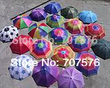 wholesale +Low Freight Umbrella cap fishing umbrella hat wearing elastic strap umbrella hat  solid color