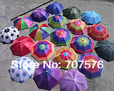 wholesale Umbrella cap fishing umbrella hat wearing elastic strap umbrella hat  solid color