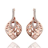 Fashion Woman Leafe Crystal Jewelry Stud Earrings 18KGP Rose Gold Plated Rhinestone Stainless Steel Dangling Earring