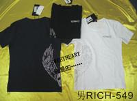 free shipping John richmond male rhinestones wings short-sleeve fashion t-shirt slim