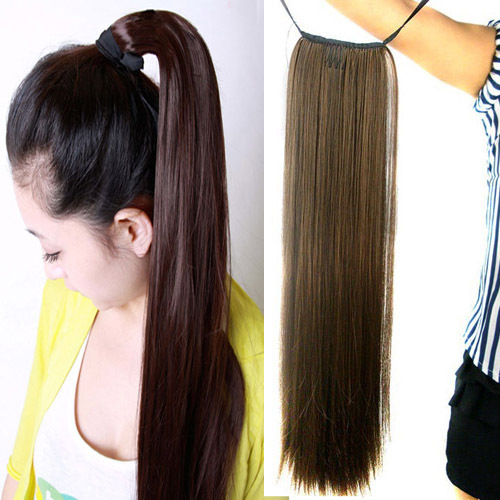 Women's Ladies Girls 50cm Long Straight Hair Piece Steel Synthetic Ponytail Hair Extensions Beautiful Hair piece Free shipping(China (Mainland))