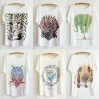 10pcs/lot brand candy colour cotton T-shirt 2014 women animal cartoon print T shirt women clothes all match Top Tee