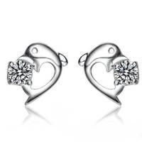 Fish Luxurious Wholesale Genuine 925 sterling silver rhinestone wedding fashion earrings jewelry for women 01M37
