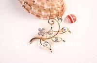 rhinestone brooch pin ,wedding brooch ,flower brooch pin ,gold plating clear rhinestone 5.7*5.0cm