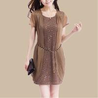 Polyester 2014 Women's Chiffon Summer Slim Fashion Dress,Female Plus size Paillette Casual Solid Color Dresses L XL XXL XXXL 4XL