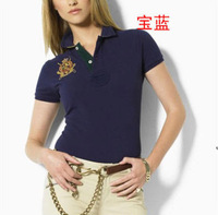 2014 new brand free shipping women slim fit summer polo shirts female turn-down collar short sleeve classic Tops & Tees #6034