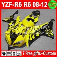 7giftsFor YAMAHA YZFR6 08-12 YZF R6 Black flames  2008 2009 2010 2011 2012 YZF600 MC97434 Yellow YZF-R6 08 09 10 11 12 Fairing