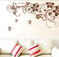 Free shipping butterfly flower vine romantic bedroom living room TV wall green wall stickers
