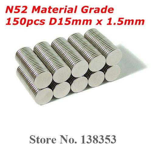Гаджет  Wholesale 150pcs Super Strong N50 N52 Neodymium Disc Magnets Dia 15mm x 1.5mm Small Round Rare Earth NdFeB Magnet Sheets None Строительство и Недвижимость