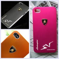 Luxury Metal Texture Back Shell Sport Car Style Matte Aluminum PC Phone Cover Cases for iPhone4 i Phone 4 4S 10 Colors Available