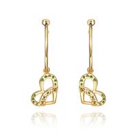 Fashion Woman Beautiful Crystal Jewelry Heart Stud Earrings 18KGP Rose Gold Plated Rhinestone Stainless Steel Dangling Earring