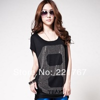 New 2014 fashion women clothing O-Neck t shirt 8 letter print women's White Black tops autumn-summer