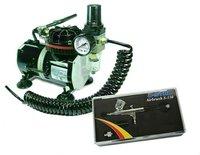 U-STAR Mini Air Compressor U-601A + U-STAR Dual-Action Gravity Feed Airbrush S-130, 0.3mm Nozzle