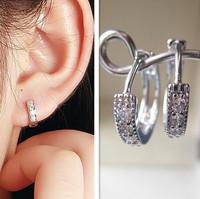 Hotsale New Arrival Fashion White Gold Plated Zircon Crystal Small Hoop Women Earrings Fashion Jewelry