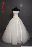 Bride tube top wedding dress wedding dress champagne color bow elegant style