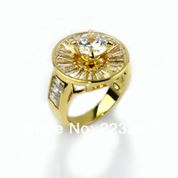 2014 Free Shipping Gold Plated Ring With Big Zircon For Women HR110