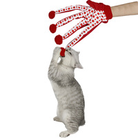 Pet Products Lovely Ball Pet Funny Toy Cute Polka Dot Cat Toys Scratch Glove Toy Red Color Free Shipping