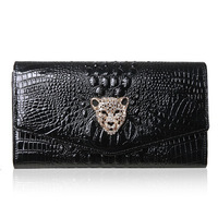 2014 brand new women's handbag genuine leather crocodile pattern leopard day clutches envelope bag messenger evening small bags