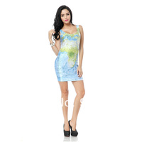 Dropshipping 2014 Summer new digital printing  map slim elastic slim hip vest  one-piece women dress casual  dress tq065